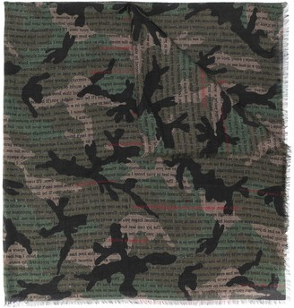 Valentino Camouflage Print Scarf