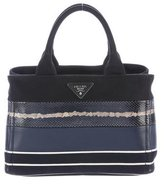 Prada Snakeskin-Trimmed Patch Righe Mix Satchel