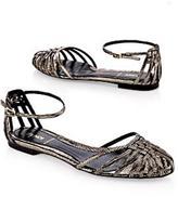 Metallic Basket Weave Flat Sandal