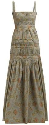 Brock Collection Olinda Floral-print Taffeta Maxi Dress - Womens - Blue Multi