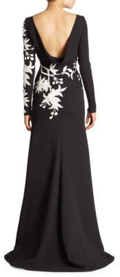 Naeem Khan Long Sleeve Floral Gown