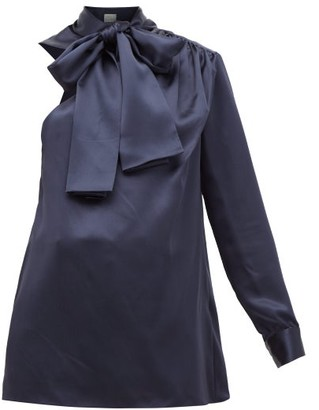 Hillier Bartley One-sleeve Pussy-bow Silk-charmeuse Blouse - Womens - Navy