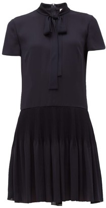 RED Valentino Tie-neck Pleated Crepe-chiffon Mini Dress - Womens - Navy