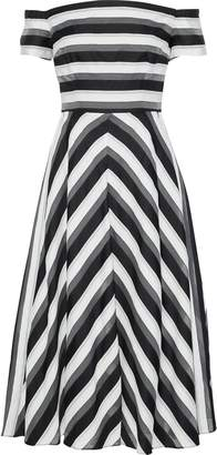 Lela Rose Off-the-shoulder Striped Cotton And Silk-blend Midi Dress