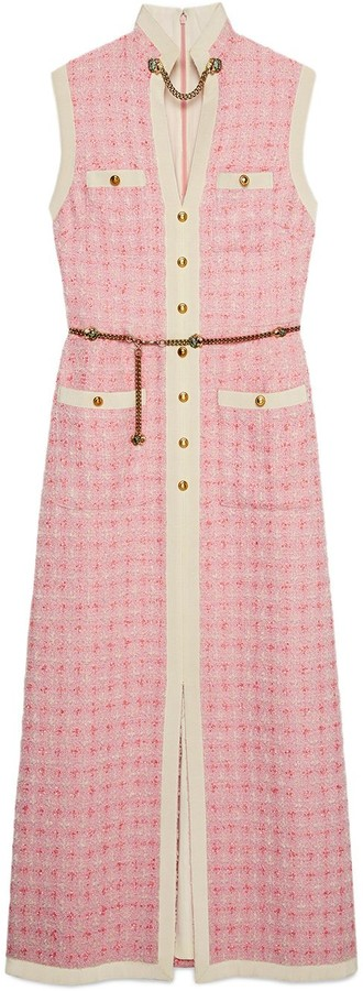 Gucci Long tweed dress with chain belt