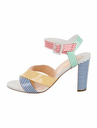 Christian Louboutin Patent Leather Striped Sandals Blue