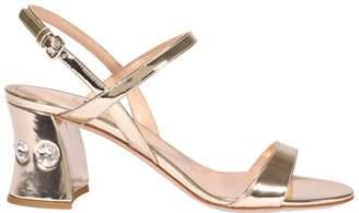 Miu Miu Embellished Heel Ankle Strap Sandals