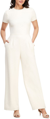 Gal Meets Glam Crewneck Short-Sleeve Jumpsuit with Faux-Pearl Detail