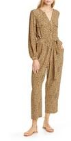 Dolan Neela Cheetah Print Long Sleeve Jumpsuit