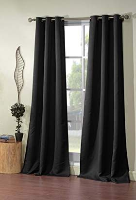 BLACKOUT365 Blackout Room Darkening Window Curtain Set of 2 Panels, Black, 38 X 84
