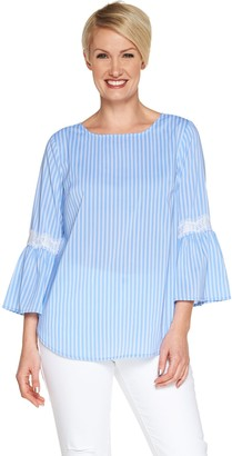 Du Jour Striped Bell Sleeve Top with Lace Detail