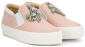 No.21 Kids embellished slip-on sneakers