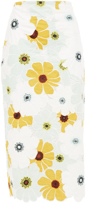 Kate Spade Scalloped Embroidered Floral-print Cotton-mousseline Midi Skirt