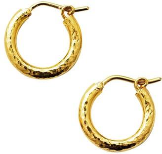 Elizabeth Locke Gold Hammered 19K Yellow Gold Big Baby Hoop Earrings