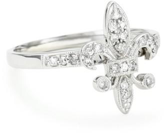 """KC Designs Trinkets"""" Diamond 14k White Gold Fleur-de-Lis Ring Size 6"""