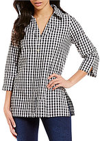 Westbound Point Collar 3/4 Sleeve Button Back Printed Tunic