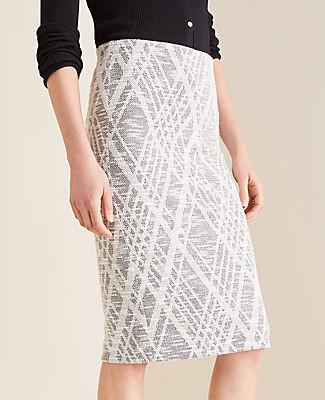 Ann Taylor Petite Argyle Textured Pencil Skirt