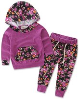 samgani baby Baby Girls Floral Hoodie+ Floral Pant Set Leggings 2 Piece Outfits For 6M-3Y