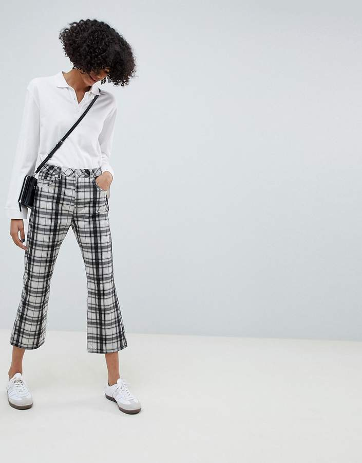 Asos Design DESIGN Egerton rigid cropped flare jeans in mono check print