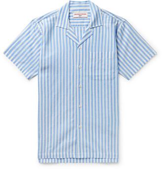 Orlebar Brown + 007 Thunderball Camp-Collar Striped Linen And Cotton-Blend Shirt