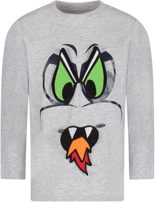 Stella McCartney Kids Grey Boy T-shirt With Black Dragon Eyes