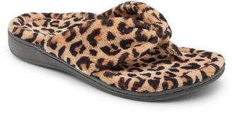 Vionic Terry Thong Slippers - Gracie Leopard