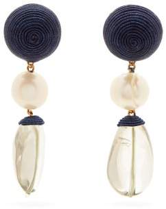 Rebecca De Ravenel Mini Treasures Drop Earrings - Womens - Navy Multi