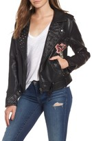 Blank NYC Women's Blanknyc Printed Faux Leather Moto Jacket