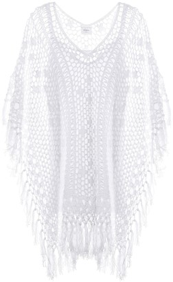Anna Kosturova Tassel crocheted cotton poncho dress