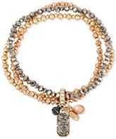 Kenneth Cole New York Tri-Tone Crystal and Stone Pendant 3-Pc. Set Beaded Stretch Bracelet