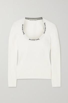 alexanderwang.t Intarsia Stretch-knit Top - White