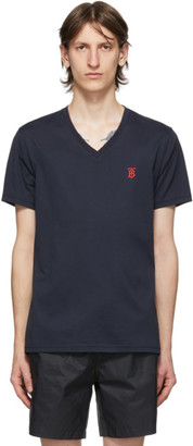 Burberry Navy Marlet V-Neck T-Shirt