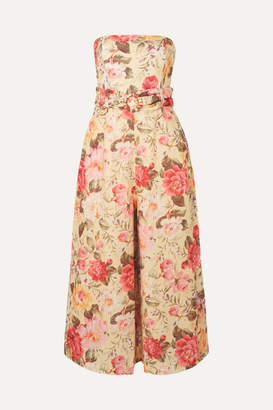 Zimmermann Honour Strapless Floral-print Linen Jumpsuit - Pink