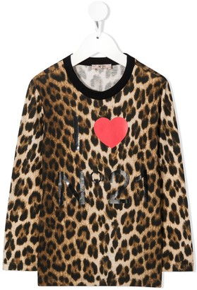 No21 Kids Logo Leopard Print Top