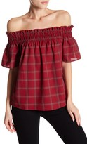 Socialite Off-the-Shoulder Plaid Blouse