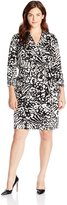 Adrianna Papell Women's Plus-Size 3/4 Sleeve Printed Wrap Dress Plus, Black/Ivory
