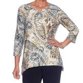 Alfred Dunner Deck The Halls 3/4 Sleeve Crew Neck Paisley T-Shirt-Womens