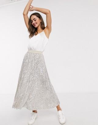 Asos DESIGN sequin pleated midi skirt in silver