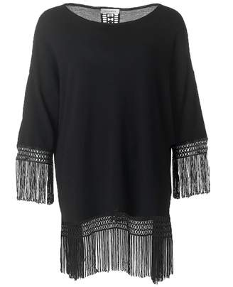 Silvian Heach Fringed Tunic Colour: BLACK, Size: MEDIUM