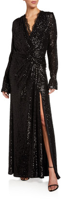 Jonathan Simkhai Sequined Long-Sleeve Draped Gown with Lace