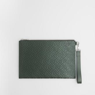 Burberry Monogram Leather Zip Pouch
