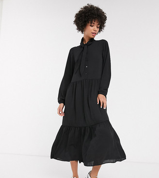 Monki tiered midi dress with pussy bow neck in black