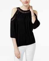 INC International Concepts Petite Embellished Cold-Shoulder Top, Only at Macy's