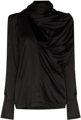 MATÉRIEL Draped-Detail Long-Sleeve Blouse