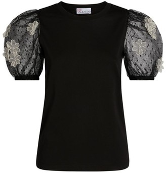 RED Valentino Organza Puff-Sleeved Top