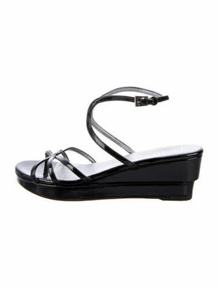 Prada Patent Leather Cutout Accent Sandals Black