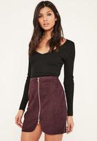 Missguided Purple Faux Suede Zip Through Curve Detail Mini Skirt