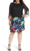 Tahari Plus Size Women's Print Chiffon Shift Dress