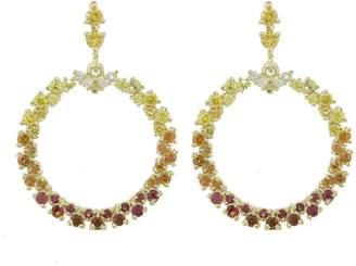 Ruta Reifen White, Red, Orange, Yellow Sapphire Show Love Hoop Earrings - Yellow Gold