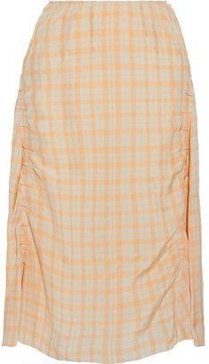 Acne Studios Iza Ruched Gingham Shell Midi Skirt